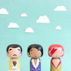 Freddie Mercury , Prince , David Bowie Kokeshi dolls - Sketchinc
