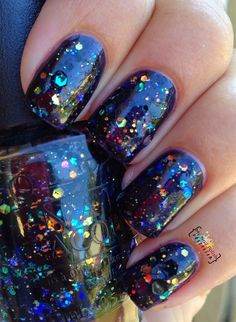 My Nail Polish Obsession: OPI Comet In The Sky. Black nail polish with glitter. Get Nails, Fancy Nails, Love Nails, How To Do Nails, Pretty Nails, Hair And Nails, Nagellack Design, Nail Polish Colors, Opi Polish