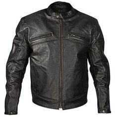 Xelement XSPR105 'The Racer' Mens Black Armored Leather Racing Jacket  Made of thick abrasion-resistant cowhide, this Xelement leather motorcycle jacket features CE-approved Level-3 removable armor, Zip-out black quilted full lining and zipper vents throughout.