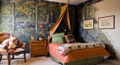 Camping Theme in Boys Bedroom Design Ideas with Tent Style Canopy Bed and Forest Pattern Wallpaper Nature Theme on Boys Bedroom