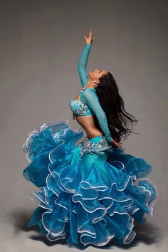 Blue belly dance costume - Dancer Nina Teza