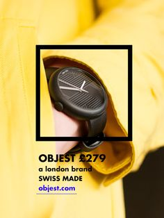 Objest Watch - Charcoal case, black leather strap. Swiss Made, 40 mm case, 50m water resistance 2 year warranty £279.  http://objest.com