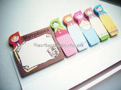 Matryoshka, Russian Nesting Doll  sticky notes, post it, school office stationery id1360095 kawaii paper goods, memo pad, page marker by HeartBeadsSupply on Etsy