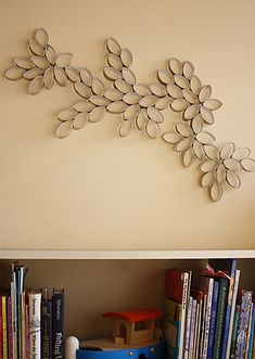 toilet paper roll art. cool, simple to make, and since it's so lightweight, it couldn't be easier to mount!