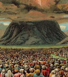 Artist Rendition of Mount Sinai and clouds representing the natural cover of where Moses when to meet God and receive His 10 commands on 2 tablets recorded in Exodus 20. #DdO:) https://www.pinterest.com/DianaDeeOsborne/power-beyond-us/ - This event described across many chapters represents the first congregation, we'd call a church, recorded in God's Bible, when you study 35:1 Hebrew words Qahal vs Edah. Photo: 350px The Ten Commandments Bible Card.