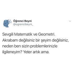 Sevgili matematik ve geometri haha