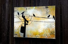 Birds on a Wire on Canvas Graffiti Pop Art Style Original Artwork Stencil Urban Street Art Vintage Parachute Art