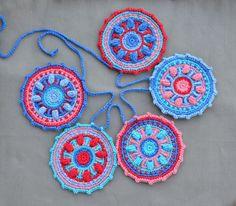 Crochet ganchillo de superposición patrón - decoración del partido de la guirnalda de mandala - Garland - descarga inmediata