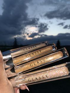 The names of the glosses are Golden Hour (bottom) and Dahab (middle) Glitter Lip Gloss, Diy Lip Gloss, Makeup Kit, Skin Makeup, Lip Gloss Homemade, Gloss Labial, Kawaii Makeup, Makeup Items, Glossy Lips