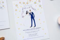 Lavender Stars custom illustrated Wedding от JollyEdition на Etsy