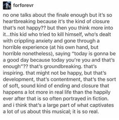 Even though we always quote it no one talks about the finale enough. Theatre Geek, Musical Theatre, Theater, Always Quotes, Dear Even Hansen, Connor Murphy, Ben Platt, Be More Chill, Out Of Touch