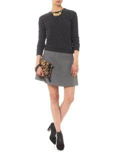 Grey Melton Wool Panel Skirt   Nonoo   Avenue32
