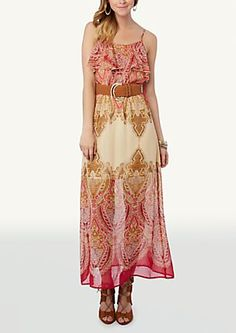 image of Paisley Scarf Popover Maxi Dress