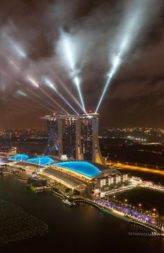 Marina Bay Sands casino and hotel in Singapore capped by Sands Skypark. Look at those pools!