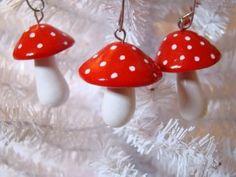 3 Red Fimo Clay Mushroom Ornaments