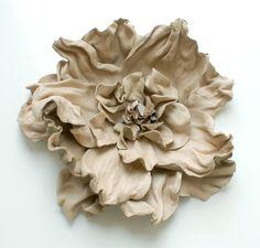 Handmade leather flower brooch. $38.00, via Etsy.