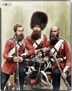 Coldstream Guardsmen Nunn, Potter and Deal in Aldershot for a London victory parade in July 1856 (photograph by Robert Howlett and Joseph Cu...
