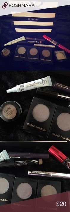 """Mini eye bundle Cute little bundle of all your eye care essentials at a super low cost! Included in this bundle are three Merle Norman shadows & two NYX cosmetics shadows (swatched), one two faced shadow insurance mini (never used), one Anastasia Beverly Hills clear brow gel mini (never used), one full size Maybelline mascara (never used), one Tarte """"lights, camera, lashes"""" mini mascara (never used), and one Sephora brow pencil in dark blonde (minimal use). Great deal on this bundle! Too…"""