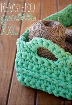 Sweet: Patrón de Revistero o cesta cuadrada de Ganchillo XXL