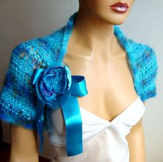 Hand Knit Bolero Shrug Bride shrug Bridesmaid by RoseAndKnit, $52.00