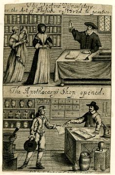 Attributed to William Faithorne 1646-1677 Two scenes; above, a doctor dispensing a bottle of medicine to two women, one of whom is holding a baby; below, an apothecary's shop