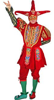 A rental deluxe-quality, decorative red and green jester costume with metallic accents. Mardi Gras Costumes, Halloween Costumes, Royal Costumes, Men's Costumes, Costume Ideas, Medieval Jester, Medieval Costume, Jester Costume, Court Jester