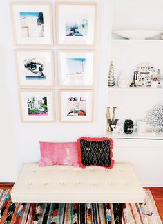 This simple gallery wall by @sfgirlbybay featuring our Marin Natural Wood frame is stunning! This vertical arrangement is beautiful in smaller spaces like offices #framebridge #sfgirlbybay