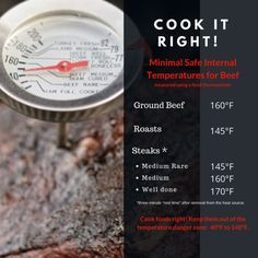 Cook It Right! Correct Beef Cooking Temperatures http://dinnertonight.tamu.edu/2016/08/22/cook-right-correct-beef-cooking-temperatures/