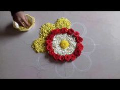 easy quick and simple rangoli designs with flowers and colours, muggulu designs with colours and flowers, flower decorations for pooja room, festival decorai. Simple Rangoli Designs Images, Rangoli Designs Flower, Small Rangoli Design, Rangoli Ideas, Colorful Rangoli Designs, Rangoli Designs Diwali, Flower Rangoli, Easy Rangoli, Beautiful Rangoli Designs