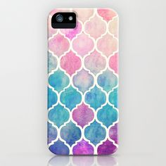 Rainbow Pastel Watercolor Moroccan Pattern iPhone & iPod Case by Micklyn | Society6