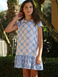 Check out what Loris Golf Shoppe has for your days on and off the golf course! Turtles & Tees Junior Girls Golf/Tennis Avery Short Sleeve Dresses - Blue Medalion Print