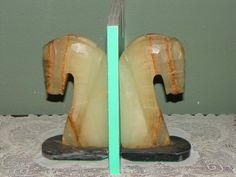 Vintage Marble BOOKENDS Book ends Horse Heads Onyx by FavrileFinds