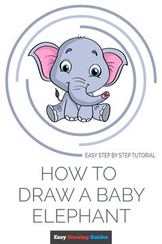 Learn to draw a baby elephant. This step-by-step tutorial makes it easy. Kids and beginners alike can now draw a great looking baby elephant. Baby Elephant Video, Elephant Gif, Little Elephant, Cartoon Elephant Drawing, Animal Drawings, Cartoon Art, Learn Art, Learn To Draw, Drawing Tutorials For Kids