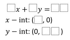Directions: Using digits write an equation of a line in standard form with given x- and y-intercepts. Algebra Problems, Standard Form, Math Intervention, The Middle, Teaching Math, Middle School, Cube, Equation, Let It Be