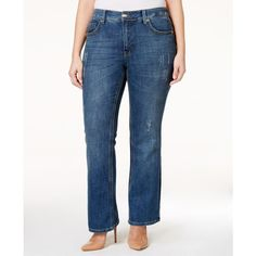 Melissa McCarthy Seven7 Trendy Plus Size Decoy Wash Ripped Bootcut... ($70) ❤ liked on Polyvore featuring plus size women's fashion, plus size clothing, plus size jeans, decoy blue, plus size destroyed jeans, boot cut jeans, blue ripped jeans, ripped jeans and bootcut jeans