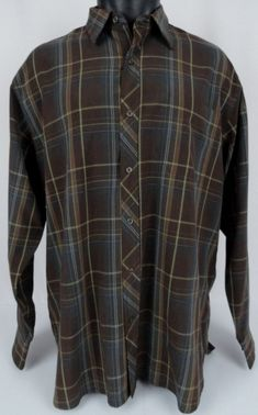 Tommy Bahama Men's Large Silk Shirt Brown Plaid Button Front Long Sleeved Pocket #TommyBahama #ButtonFront