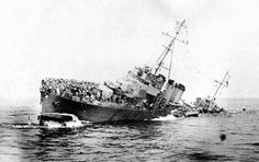 French destroyer Bourrasque sinks after striking a mine while trying to evacuate British and French soldiers during Operation Dynamo. 30th May 1940.