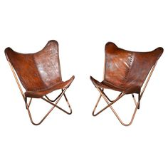 Rare pair of Vintage Butterfy Chairs is Cognac Stiched Leather