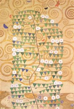 Cartoon for the frieze of the Villa Stoclet in Brussels: right part of the tree of life - Gustav Klimt