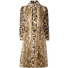 Givenchy print mix panelled trench coat (25.295 RON) ❤ liked on Polyvore featuring outerwear, coats, brown trench coat, givenchy, brown coat, leopard trench coat and mid length trench coat