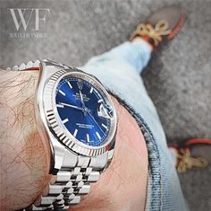 Rocking a blue dialled #Rolex #DateJust for the day #GoodTimes
