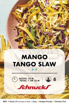 Whip this taste of summer up in just 10 minutes! Vegetarian Cabbage, Vegetarian Paleo, Vegetable Dishes, New Recipes, Cooking Tips, Side Dishes, Mango, Yummy Food, Salad