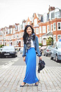 maxi skirt, t-shirt, denim jacket, scarf - so cute!!!