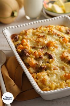 "This baked dish from beloved Chef Lynn Crawford lovingly combines many of the harvest flavours of autumn in Ontario – fall squash, aged Cheddar, butter and honey garlic.  ""Bechamel is one of the classic, French sauces – one of the mother sauces."" says Chef Lynn. ""It is made with butter and milk, two of my favourite Ontario ingredients. My little twist is to add some finely diced white onion. It encourages a really solid foundation and gives great flavour to the sauce."""
