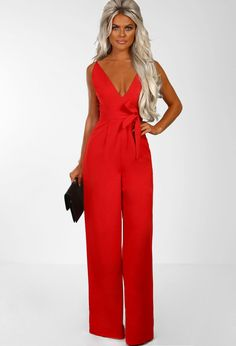 1dc7c9e17dd3 Visions Of Love Red Plunge Wide Leg Jumpsuit