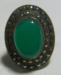 Art Deco Sterling Chrysoprase and Marcasite Pinkie Ring Size 4
