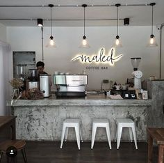 If you are a coffee lover, the best DIY Coffee Bar Ideas are here to inspire you coffee altar, your coffee worshiping game changes now! Coffee Bar Design, Coffee Shop Interior Design, Restaurant Interior Design, Coffee Cafe Interior, Bar Interior, Studio Interior, Small Coffee Shop, Coffee Shop Bar, Coffee Shops Ideas