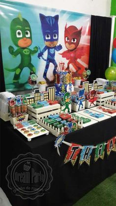 Thiago's PJ Masks 7th birthday party | CatchMyParty.com