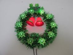 Vintage Green Lighted Tinsel Wreath / by CreekLifeTreasures Christmas Tree Star, Christmas Tree Toppers, Christmas Bells, Christmas Wreaths, Christmas Ornaments, Green Electric, Vintage Green, Lights, Antiques