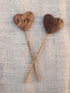 Rustic Wedding Cake Topper - Mr and Mrs Engraved Wood Hearts - Wedding Cake - Shabby Chic Wedding on Etsy, $20.00